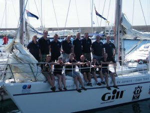 The 2nd leg crew aboard the RN yacht HMSTC Adventure prior to departing Lanzarote
