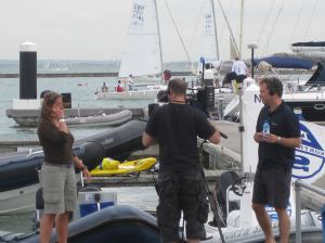 Dee and Roger in Cowes filming yesterday