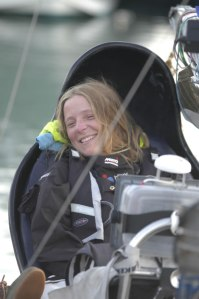 Hilary, wreathed in smiles as she finally completes her voyage in Dover