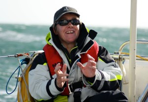 The indomitable Becky Walford, skipper of Discoverer for Leg 3