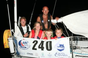 Madonna (Beneteau First 31.7, Pål Bratbak, NOR). Smallest boat in the fleet and overall winner of Division 1 Cruising. Sailed by Norwegians Pal and Pauline Brook-Bratbak, along with their young family, including 8 month old Marin, and Pauline's brother Karl (left) Credit: Tim Wright - http://photoaction.com © World Cruising Club 2008